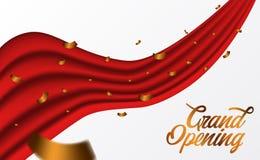 Zeremonie-Parteischablone der festlichen Eröffnung mit Luxusbandstrudel der goldenen Konfettis und der roten Seide stock abbildung