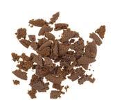Zerfallene niederländische Kakaoplätzchen auf einem weißen Hintergrund Stockbild