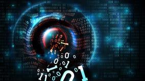 Zerhacken der abstrakten Datenbank, Brandmauer, Computerinternet-Server, Konto des Sozialen Netzes, Diebstahl von Daten Datenstro stock abbildung