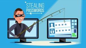 Zerhacken des Konzept-Vektors Hacker, der verstohlene Kreditkarte-Personal-Computerinformationen, Personendaten, Geld verwendet f stock abbildung