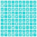 100 zerhackende Ikonen stellten Schmutz blau ein Lizenzfreie Stockbilder