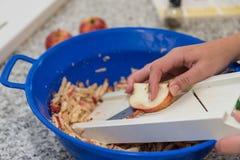 Zerkleinern Sie Apfel mit rohem Gemüse lizenzfreie stockbilder