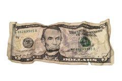 Zerknittert Fünfdollarschein stockfotografie