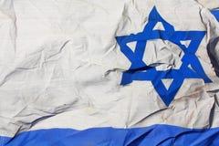 Zerknitterte israelische Markierungsfahne Stockbild
