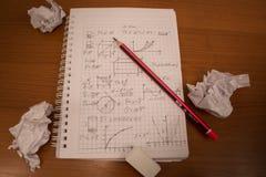 Zerknitterte Mathematik Stockbild
