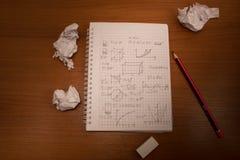 Zerknitterte Mathematik Stockfotografie