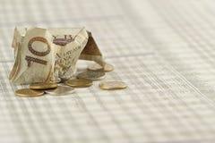 Zerknitterte polnische Anmerkung und kleine Veränderung des Zlotys 10 Lizenzfreie Stockfotos