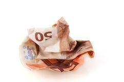 Zerknitterte Rechnung des Euro 50. Stockfotos
