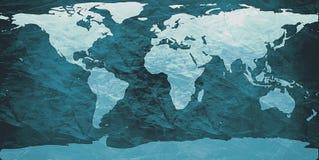 Zerknitterte Weltkarte Stockfotos