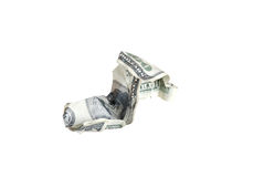Zerknitterter 100 Dollarschein Stockbild