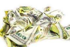 Zerknitterter Dollarschein auf einem weißen Hintergrund Stockbilder