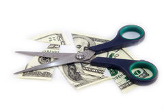 Zerknitterter Dollarschein auf einem weißen Hintergrund stockbild