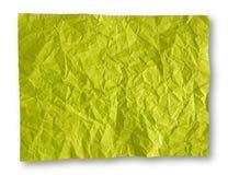 Zerknitterter gelbgrüner Papierhintergrund Lizenzfreies Stockbild