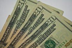 Zerknittertes altes Papierwährungsgeld zwanzig Dollarscheine nah oben stockfoto