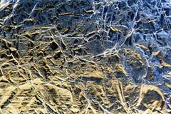Zerknittertes Aluminium-Tin Foil Surface Background Stockfoto