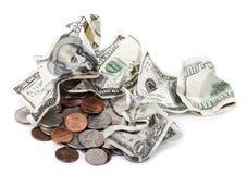 Zerknittertes Bargeld u. Änderung stockfotos