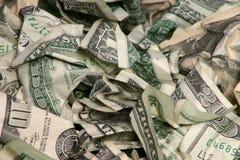 Zerknittertes Geld Stockfoto