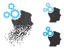 Zerlegtes Pixel-Halbton Brain Gears Icon vektor abbildung