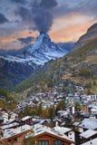 Zermatt και Matterhorn. Στοκ Φωτογραφίες