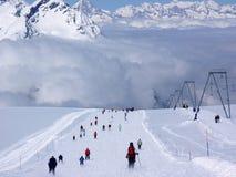 zermatt катания на лыжах стоковые изображения