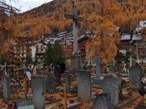 Zermatt cemetery. Cemetery in the Swiss Alps stock images
