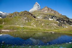 Zermatt, die Schweiz - der ikonenhafte Berg Das Matterhorn lizenzfreie stockbilder