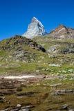 Zermatt, die Schweiz - der ikonenhafte Berg Das Matterhorn stockbild