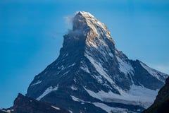 Zermatt, die Schweiz - der ikonenhafte Berg Das Matterhorn lizenzfreies stockbild