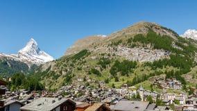 Zermatt en Berg Matterhorn in Zwitserland stock foto