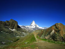 Zermatt green city in switzerland. Clear view of Matterhorn in s Stock Image