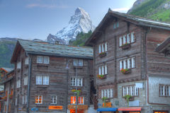 Zermatt houses with Matterhorn Stock Photo