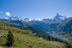 Zermatt with Matterhorn, Castor and Pollux Royalty Free Stock Photo