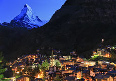 Zermatt and Matterhorn at dusk, Swiss Stock Photography