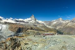 Zermatt, Matterhorn, Gornergrat, Switzerland, Alpine Railway. Zermatt, view of the Matterhorn with alpine railway, Valais, Switzerland royalty free stock photos