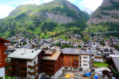 Zermatt at the Matterhorn, Valais, Switzerland (Tilt Shift) Royalty Free Stock Images