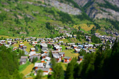 Zermatt at the Matterhorn, Valais, Switzerland (Tilt Shift) Royalty Free Stock Photo