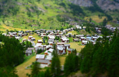 Zermatt at the Matterhorn, Valais, Switzerland (Tilt Shift) Royalty Free Stock Photos