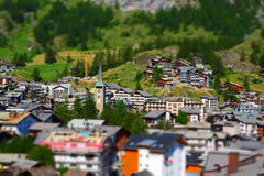 Zermatt at the Matterhorn, Valais, Switzerland (Tilt Shift) Royalty Free Stock Image