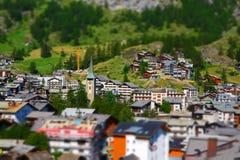 Zermatt at the Matterhorn, Valais, Switzerland (Tilt Shift) Royalty Free Stock Image