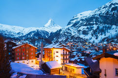 Zermatt at night. Cityscape of zermatt at night , Switzerland Stock Images