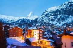 Zermatt at night. Cityscape of zermatt at night , Switzerland stock images