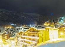 Zermatt overview. Night in town of Zermatt, Switzerland Stock Photos