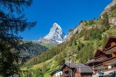 Zermatt Schweiz - det Iconic berget Matterhornen fotografering för bildbyråer