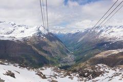 Zermatt Schweiz från hög siktspunkt royaltyfria bilder