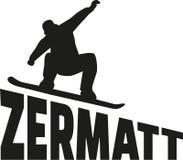 Zermatt Snowboarding snowboard. Vector icon Stock Photo