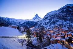 Zermatt, Svizzera, il Cervino, stazione sciistica Fotografia Stock Libera da Diritti
