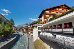 Zermatt, Switzerland. The famous ski resort town in the Swiss Alps at the base of the Matterhorn stock photos