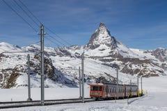 Gornergrat Train in front of Matterhorn stock photos