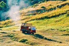Zermatt, Switzerland - 24 August, 2016: Agricultural vehicle with the hay at the meadow in Zermatt, Switzerland. Zermatt, Switzerland - 24 August, 2016 royalty free stock photo