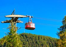 Zermatt, Switzerland - August 24, 2016: Cable car in Zermatt highland, Valais canton, Switzerland in summer. Zermatt, Switzerland - August 24, 2016: Cable car in royalty free stock photos